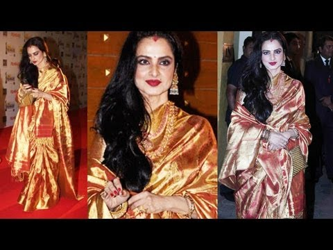 Rekha Looks Gorgeous in Saree At Filmfare Awards 2013