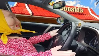 Granny Driving to the McDonald's || My Baby Alive doll driving a Real Car ALONE in The Street
