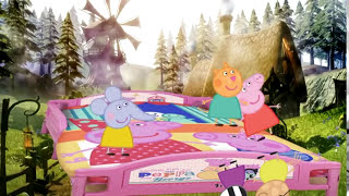 Peppa Pig 5 little monkeys jumping on the bed