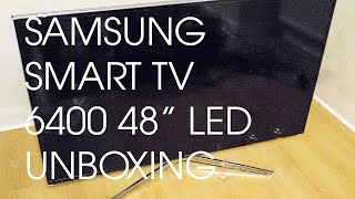 "SAMSUNG 6400 SERIES SMART 48"" LED TV UNBOXING AND STAND SET UP"