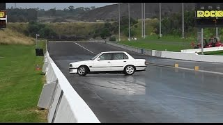BMW GETS OUT OF CONTROL AT SYDNEY DRAGWAY 18.4.2015