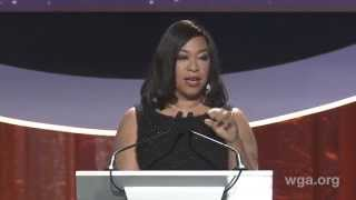 Scott Foley presents Shonda Rhimes (Scandal) with the Paddy Chayefsky Laurel Award