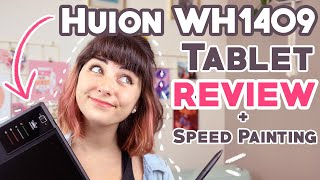 HUION WH1409 Wireless Drawing Tablet REVIEW + Character Design SPEED PAINTING!