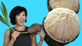 How to Open a SPROUTED COCONUT & Taste Test - coconut filled with edible foam | Fruity Fruits