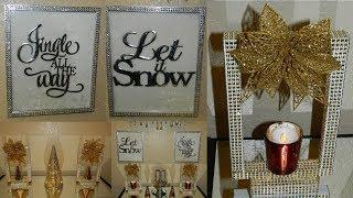 Dollar Tree DIY Christmas Wall Decor| Glam Candle Holders Centerpiece DIY