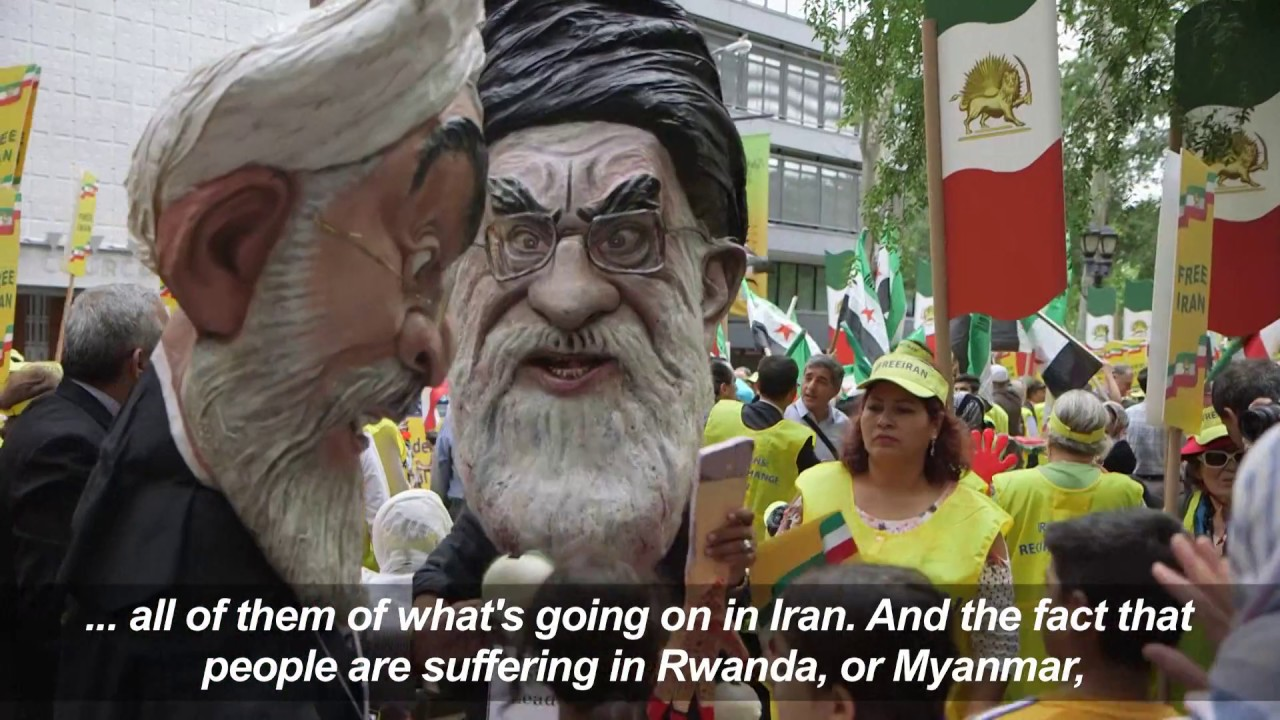 Protesters demonstrate against Iran's president in New York