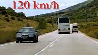 insane bus driver(near collision) 120 km/h