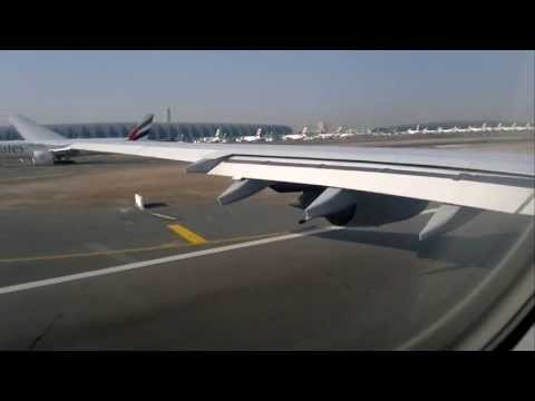 Dubai Traffic and Take-Off onboard A340-642X on Lufthansa Flight LH 639 to MUC Munich with D-AIHP