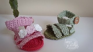 Tutorial Sandalias Bebé Crochet o Ganchillo Shoes (English subtitles)