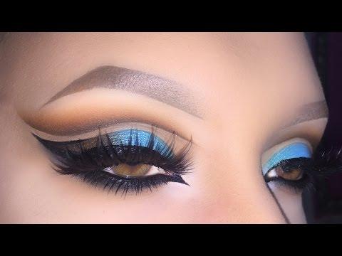 Sexy Arabic Peacock Cut Crease Makeup Tutorial (Arabian Bridal Turquoise & Brown Look)