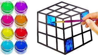 Rubik's Cube Drawing and Coloring with Giltters | Colors To Learn with Happy TV