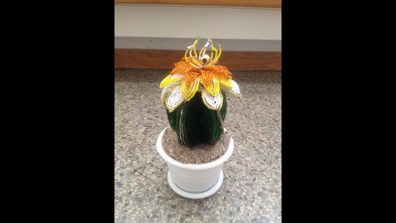 Цветок для кактуса из бисера фото