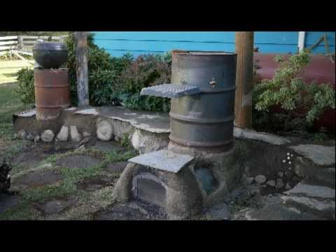 Rocket Stove or Rocket Mass Heater Half Barrel System