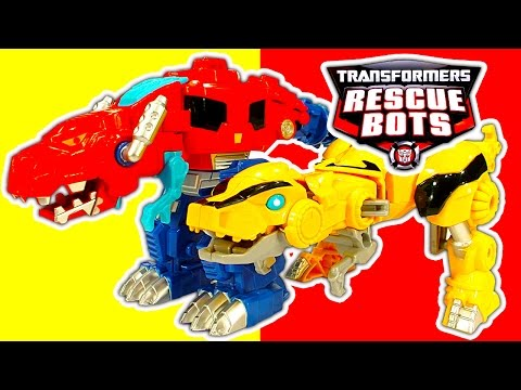Transformers 1-step Robot Toys & Rescue Bots Dinobots Toy Review video