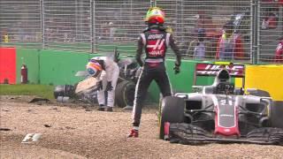 Alonso and Gutierrez crash | Australia Grand Prix 2016