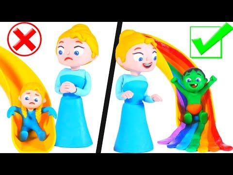 SUPERHERO BABIES & THE RAINBOW SLIDE ❤ Superhero Babies Play Doh Cartoons For Kids