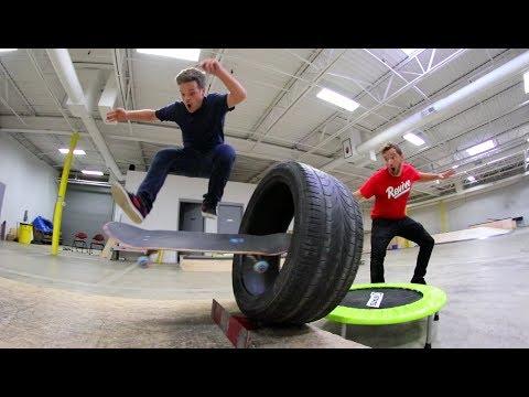 Epic Trampoline Skateboard Trick Shots!