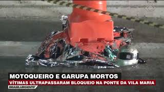 Motoqueiro e garupa mortos em acidente na ponte da Vila Maria (SP)