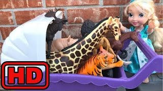 Kid -Kids -Elsa Taking Huge Toy Animals In Her Toy Stroller To the ZOO/Animal Toys Sliding /Lot Of