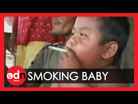 Indonesian baby on 40 cigarettes a day