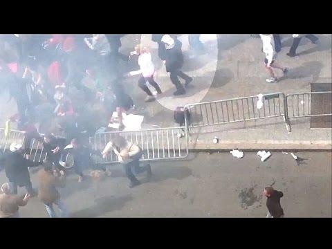 Dzhokhar Tsarnaev runs from explosion