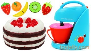 Strawberry Chocolate Cake Blender & Mixer Playset Baby Fruits Toys Play Doh Learn Colors for Kids