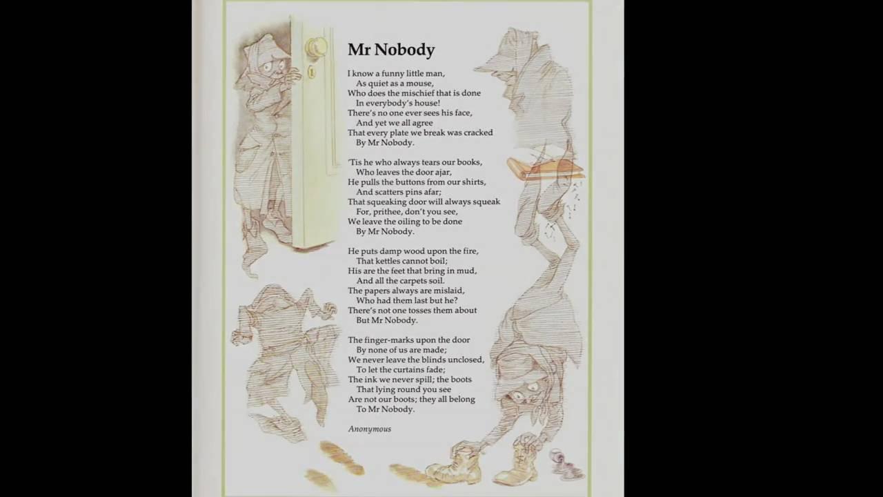 Mr Nobody Dramatized Poem For Children Youtube