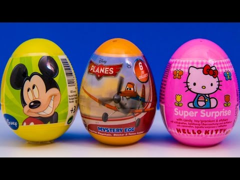 Mickey Mouse, Planes & Hello Kitty Surprise Easter Eggs Disney Toys Huevos Sorpresa video