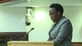 Mrs Stella Ayo Odongo reading the Call to Action at the Child Justice Conference