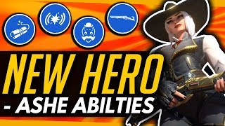 Overwatch | ASHE  ALL ABILITIES AND ULTIMATE SHOWCASE - NEW HERO DETAILS