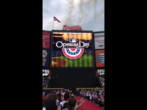 Atlanta Braves American Flag Catches on Fire- Opening Day 2014