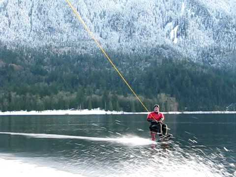 Roy hydrofoiling on Cultus Lake Jan 2