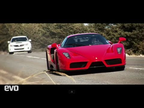 For more evo videos: http://www.evo.co.uk/videos/ Ferrari Enzo v Audi v Ford v Subaru might not sound the fairest of battles. But the three cars the Prancing...