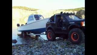 LR3 shorty Launching RC scale fishing boat on trailer.