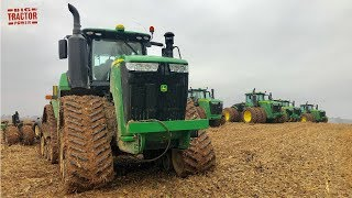9 JOHN DEERE Tillage Tractors Race the Rain
