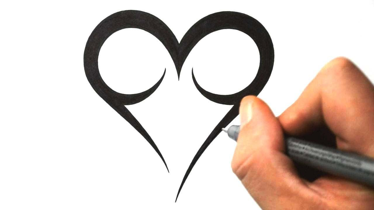 How to draw a simple tribal heart tattoo design 2 youtube for Cool designs to draw on your hand