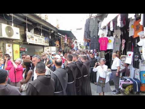 A Catholic procession on Friday at station 5 of the Via Dolorosa in Jerusalem's Old City