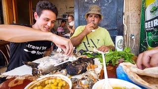 Eating PIG FISH + HUMMUS with Fishermen in Ancient Tyre! | Amazing Mediterranean Food!