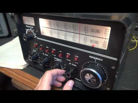 Drake 2B Tube shortwave Ham radio receiver demo