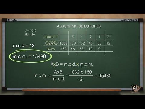 Cálculo del m.c.d. y m.c.m. utilizando el algoritmo de euclides - Máximo Común Divisor