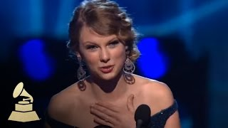 Taylor Swift accepting the GRAMMY for Best Country Album at the 52nd GRAMMY Awards | GRAMMYs