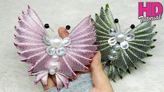 DIY - How To Make Butterfly with satin ribbon || Kanzashi Flower || kupu-kupu dari pita satin