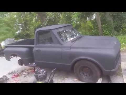 67 chevy stepside c10 gear swap and dragstrip track fun