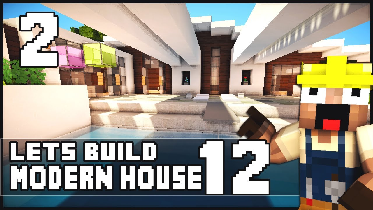 minecraft lets build modern house 12 part 2 youtube