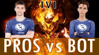 OPEN AI BOT vs. Dota Pro players (Arteezy, Sumail, Pajkatt) 1v1 Full Gameplay