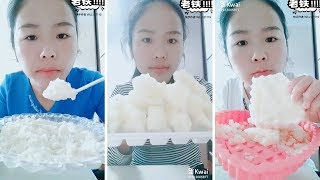 Eating white soft ice | soft crunchy ice | Ice eating asmr