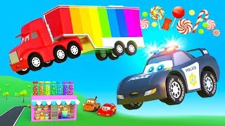Cars cartoon for Kids - Big Truck and Stolen Candy from City Sweet Shop, Police Hero Truck Chase