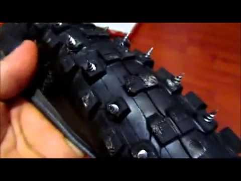 Как сделать шипованную резину на велосипед с помощью дрели на tubethe.com