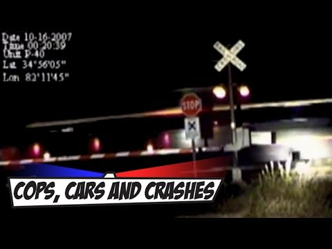 Car smashed by fast moving train