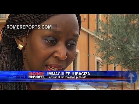 Survivor of Rwandan genocide meets Pope Francis